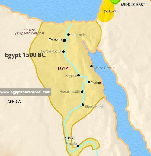 Ancient Egypt Map 1500 BC - Egypt Tours Portal