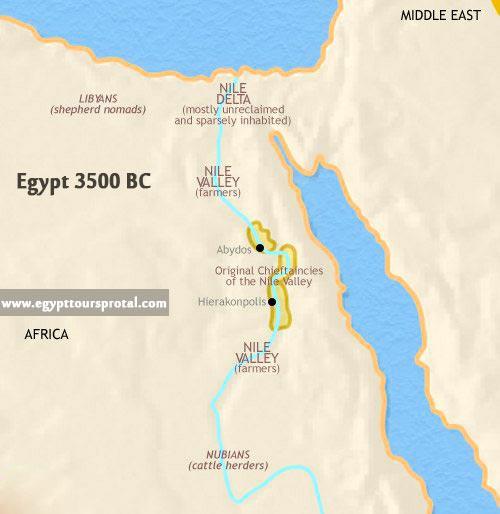 Ancient Egypt Map 3500 BCE - Egypt Tours Portal